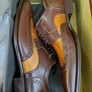 Mezlan Brown Leather Lace up Wingtip Shoes Men's 9